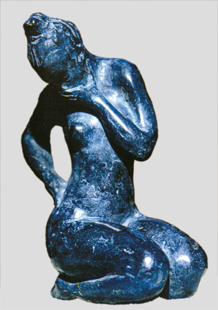 "Robert Paquet, ""Songeuse"", sculpture bleue"