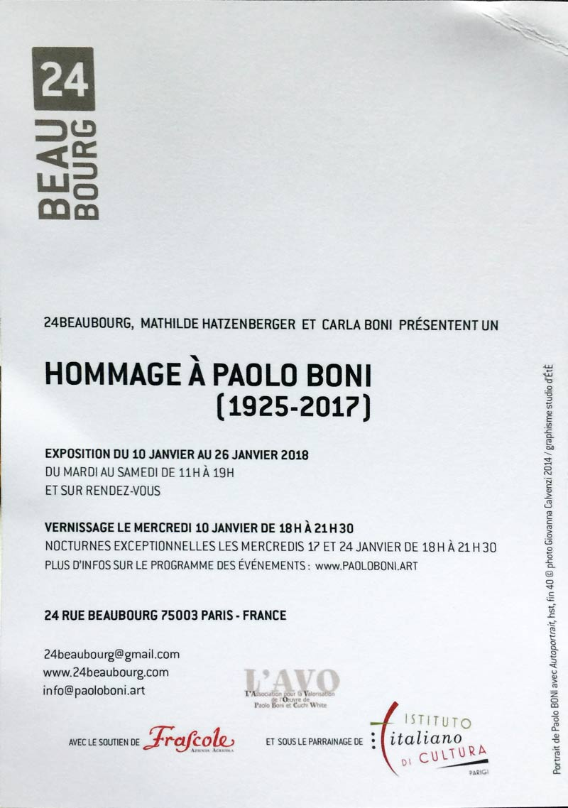 invitation exhibition Paolo Boni, text
